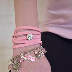 Light Pink Crystal Firefighter Theme Charm Bracelet