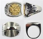 Fire Dept Stainless Steel Yellow GP Signet Ring