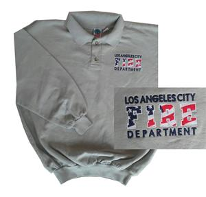 L.A. City Embroidered LAFD Collared Sweatshirt - Lt Green