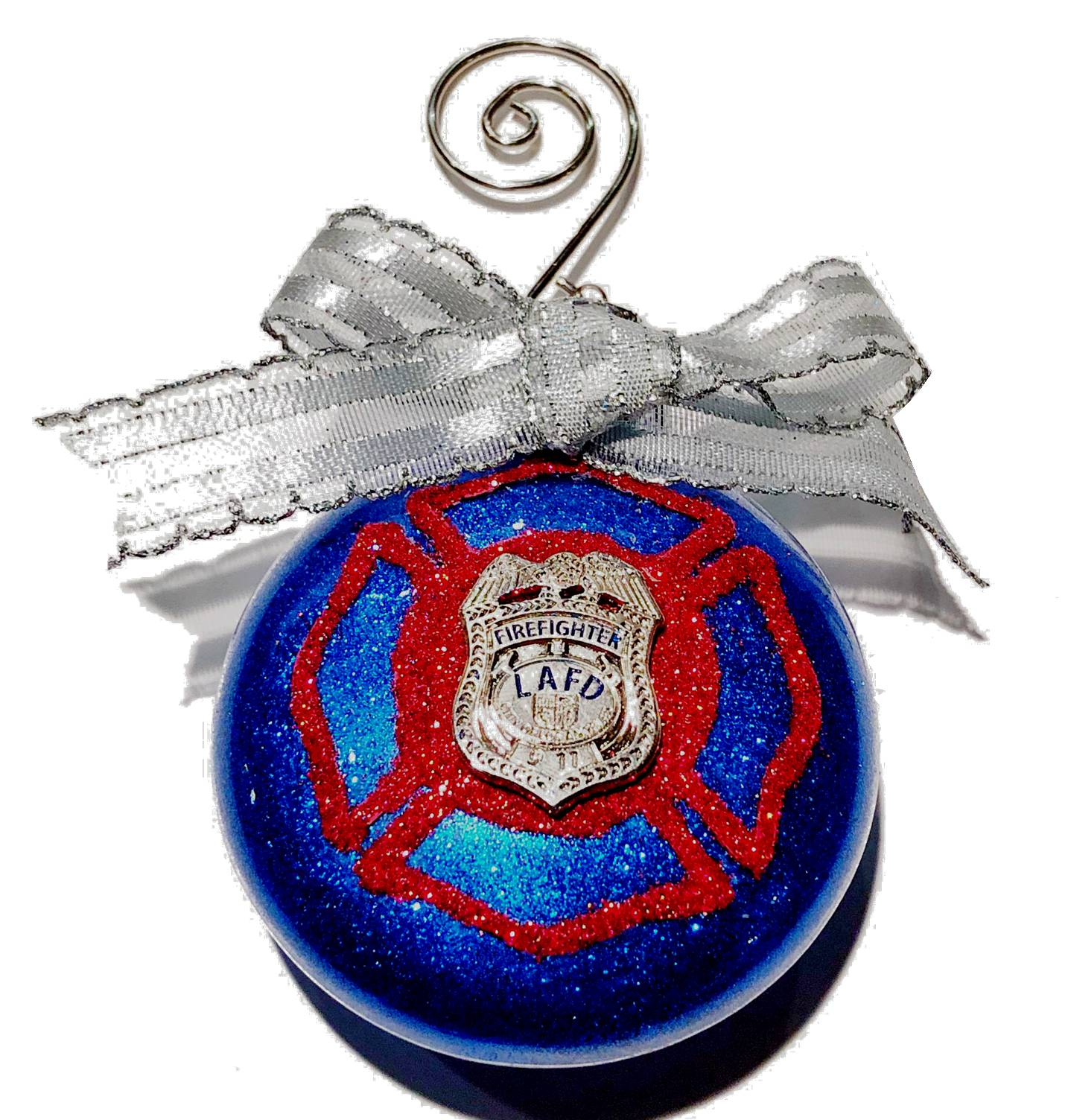 Custom LAFD Christmas Ornament Firefighter, Captain, Engineer and