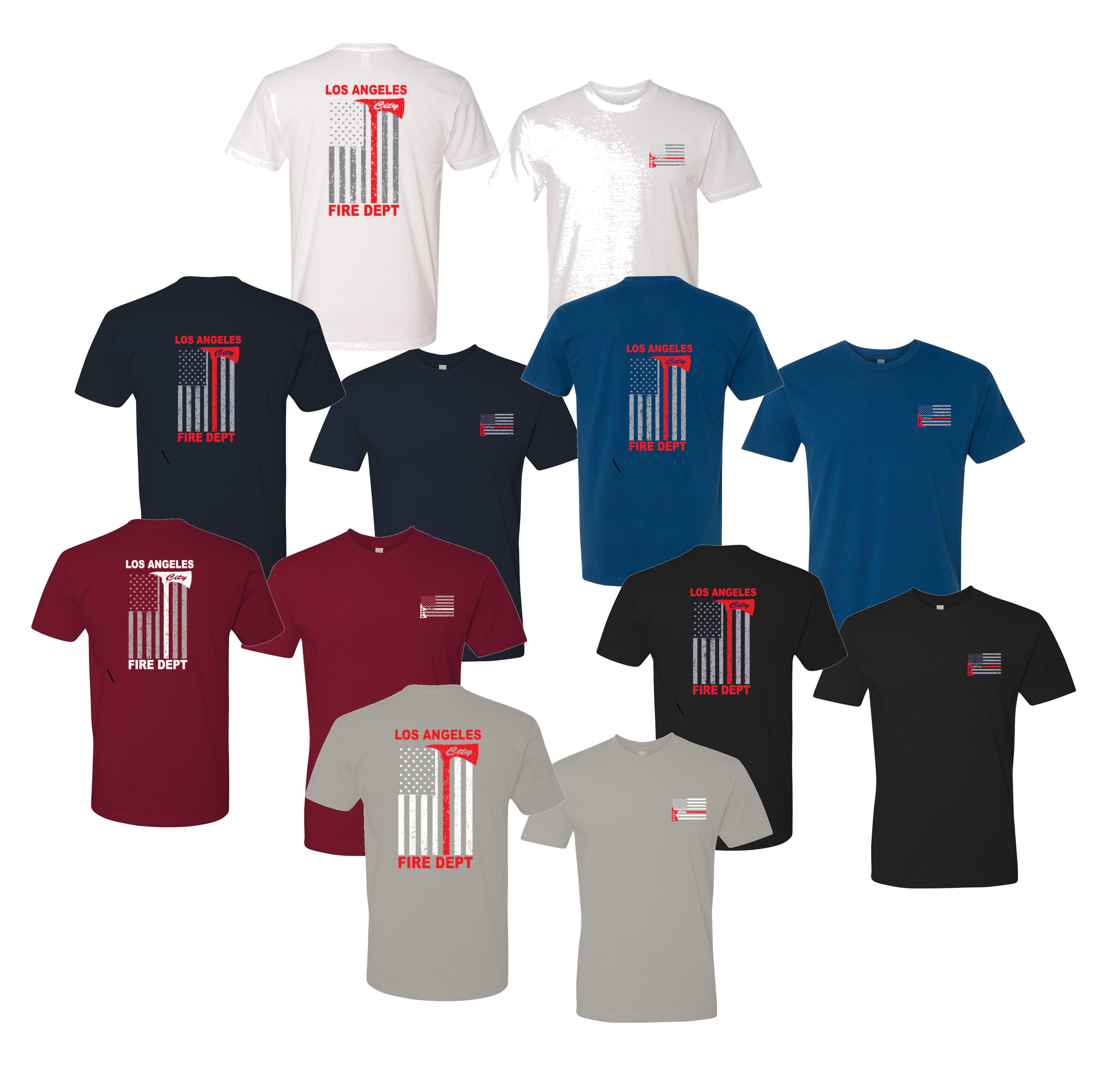 ee80a71a Los Angeles City Fire Thin Red Line T-shirt Distressed American Flag Design