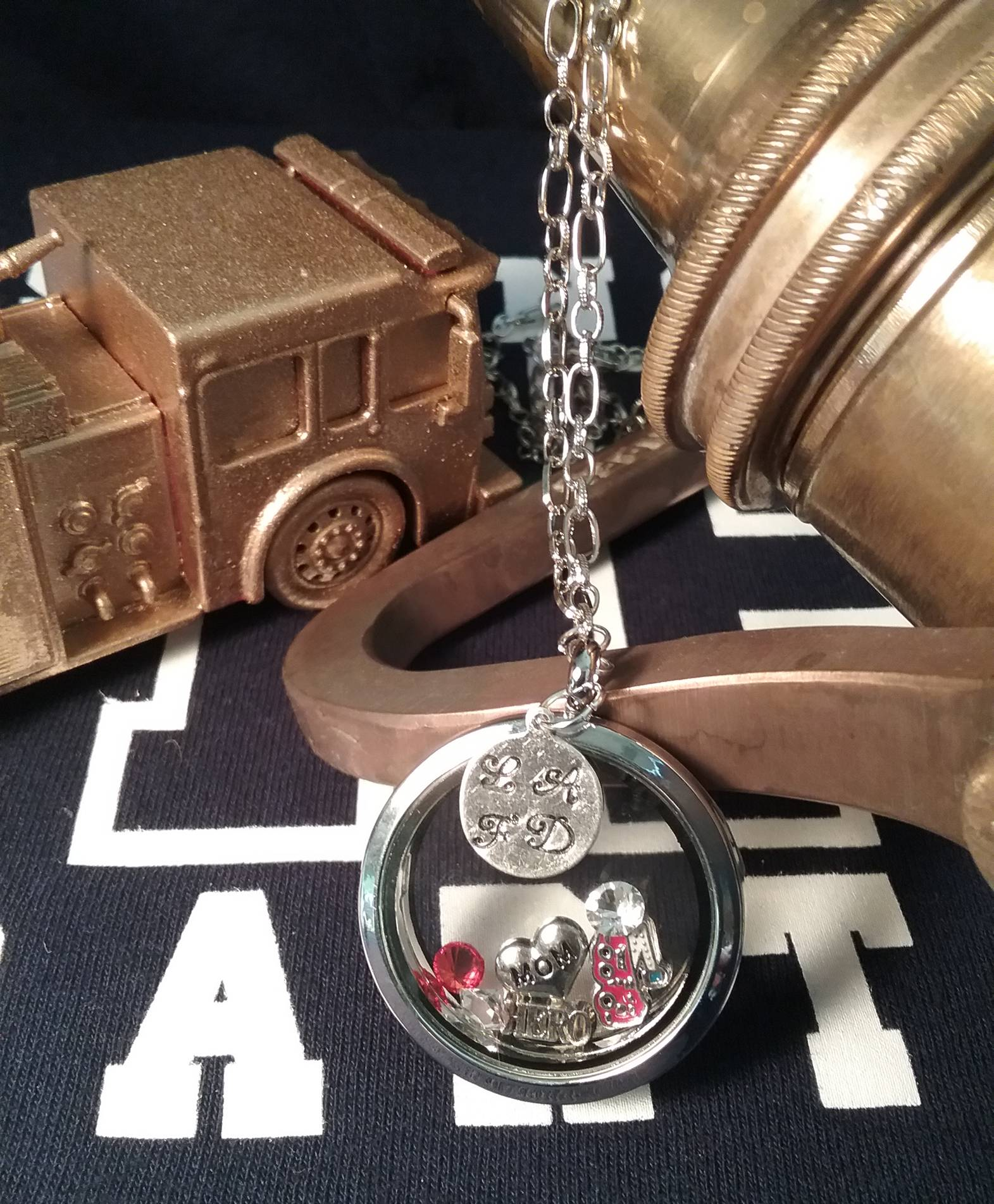 Firefighter Theme Mom Floating Charms Locket Necklace